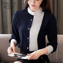 Blusas mujer de moda 2021 senhoras topos camisas de chiffon para as mulheres topos botão sólidos blusas femininas suporte coreano roupas 8020 50