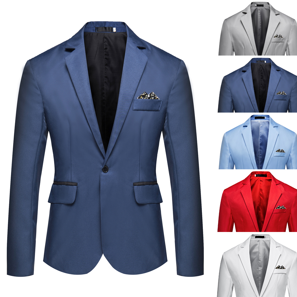 Hot Sale Mens Korean Slim Fit Arrival Cotton Blazer Suit Jacket Black Blue Plus Size M To 5XL Male Blazers Mens Coat Wedding