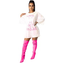 Women Spring Mini Loose Dress 2020 O-Neck Letter Sequined Casual Sexy Night Club Party Bandage Street Bodycon Dresses GL068