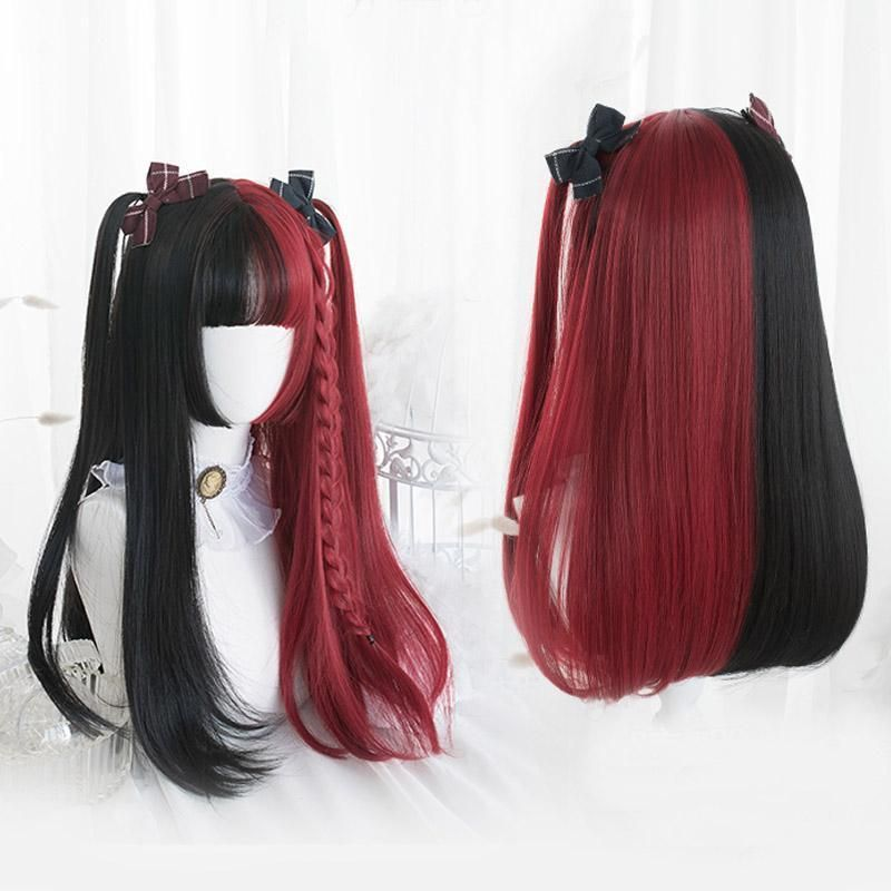 Lolita  Black  Red Ombre Long Short Curly Straight Bob Bangs Halloween Synthetic Cosplay Wig 2 Styles