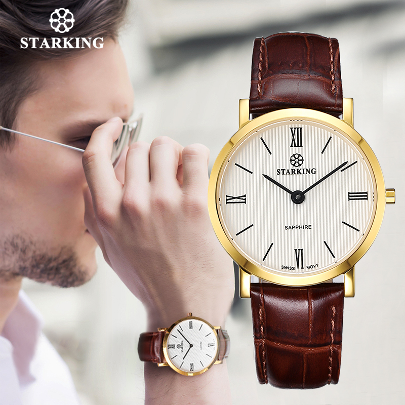 STARKING Japan Quartz Watch Men Fashion Top Brand All Black Genuine Leather Sapphire Business Wristwatch Retro Male Clock 3ATM