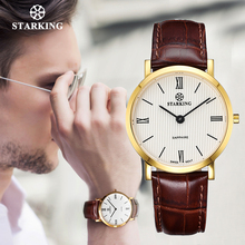 STARKING japoński zegarek kwarcowy mężczyźni moda Top marki wszystkie czarne prawdziwa skóry Sapphire biznes zegarek Retro mężczyzna zegar 3ATM
