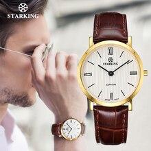 STARKING japon kuvars kol saati erkekler moda üst marka tüm siyah hakiki deri safir İş kol saati Retro erkek saat 3ATM