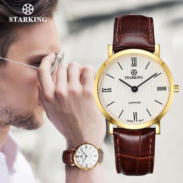 STARKING montre à Quartz noire pour hommes, montre bracelet rétro, en cuir véritable, saphir, pour le Business, 3ATM, haut tendance
