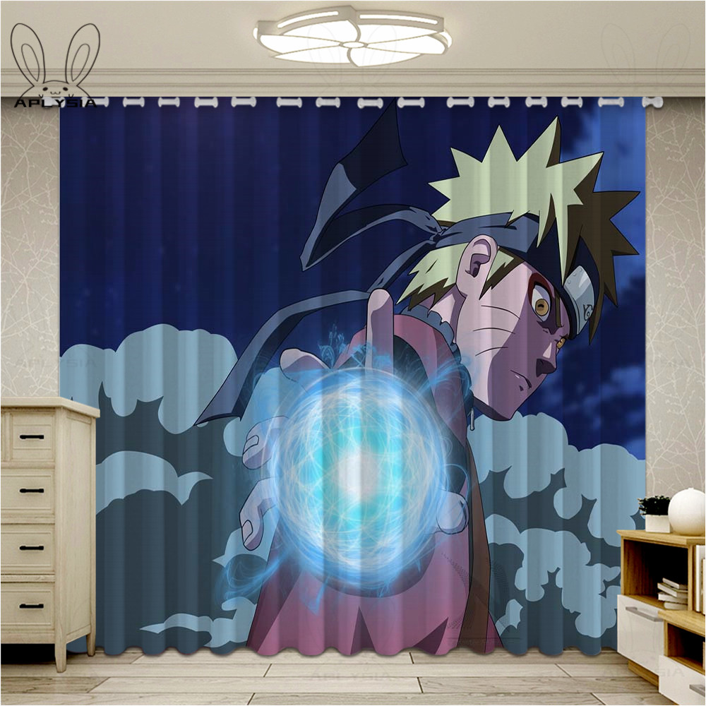 Popular Anime Curtains For Window Naruto Series Finished Drapes Window Blackout Curtains Parlour Room Blinds image