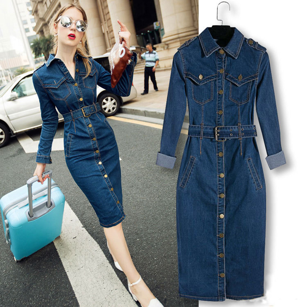 Jeans Dress Belt Long-Sleeve Office Slim Winter Denim Women with for 35 Mid-Cuff title=