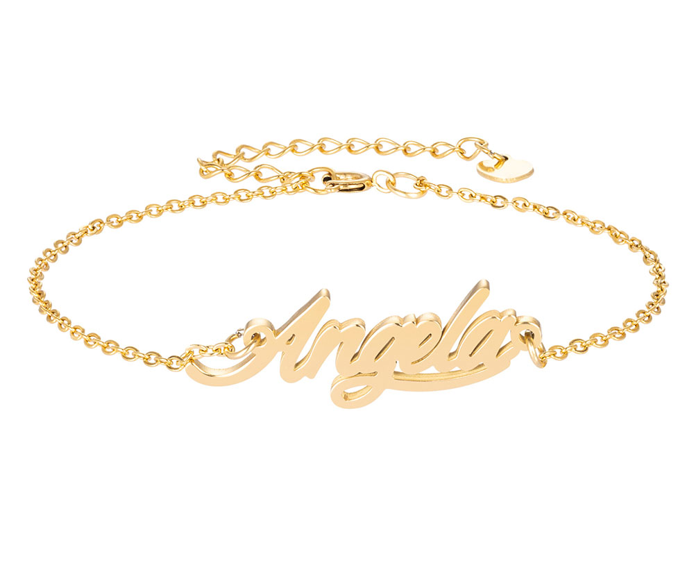 Анжела имя браслет для женщин, ювелирные изделия для девушек, из нержавеющей стали, покрытой 18k позолоченный кулон-табличка с именем Femme Mother, ...
