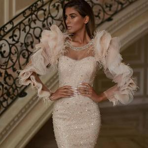 Image 2 - Dubai Saudi Arabic Dress Mermaid Beadings Sequins Tassels Ruffles Long Sleeves O Neck Evening Dresses Long Luxury Gowns