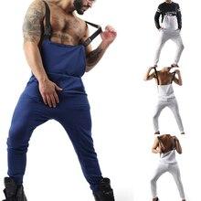 Весенний мужской однотонный комбинезон с карманами, уличная одежда, повседневные мужские штаны на подтяжках, спортивные штаны, модные штаны в стиле хип-хоп