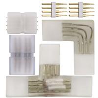 Conector RGB de 4 pines, enchufe de esquina media para 8mm, 10mm, PCB, 110V, 220V, 5050, 2835, 3528, RGB, conector para tira de LED con aguja de cobre