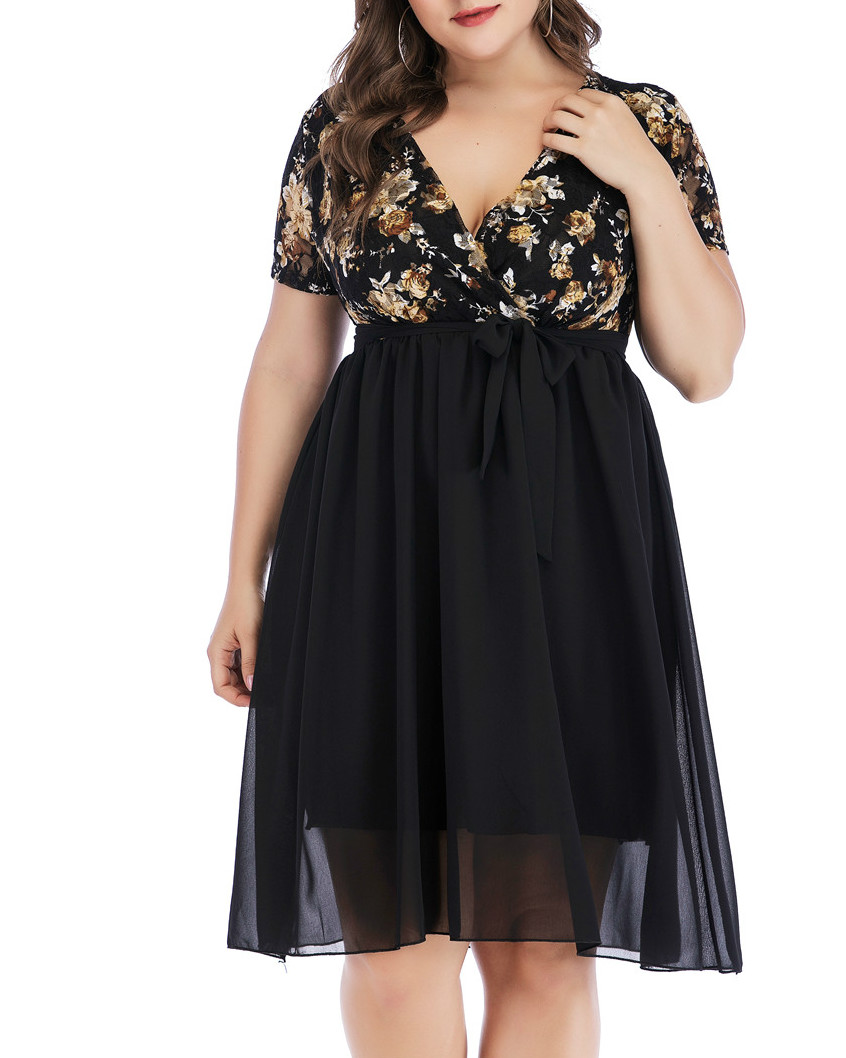 2020 Spring Fashing Sexy Black Party Tulle Plus Size Dress 5XL Women Deep V Neck Rose Lace Chiffon Slim Printed Vintage Dress