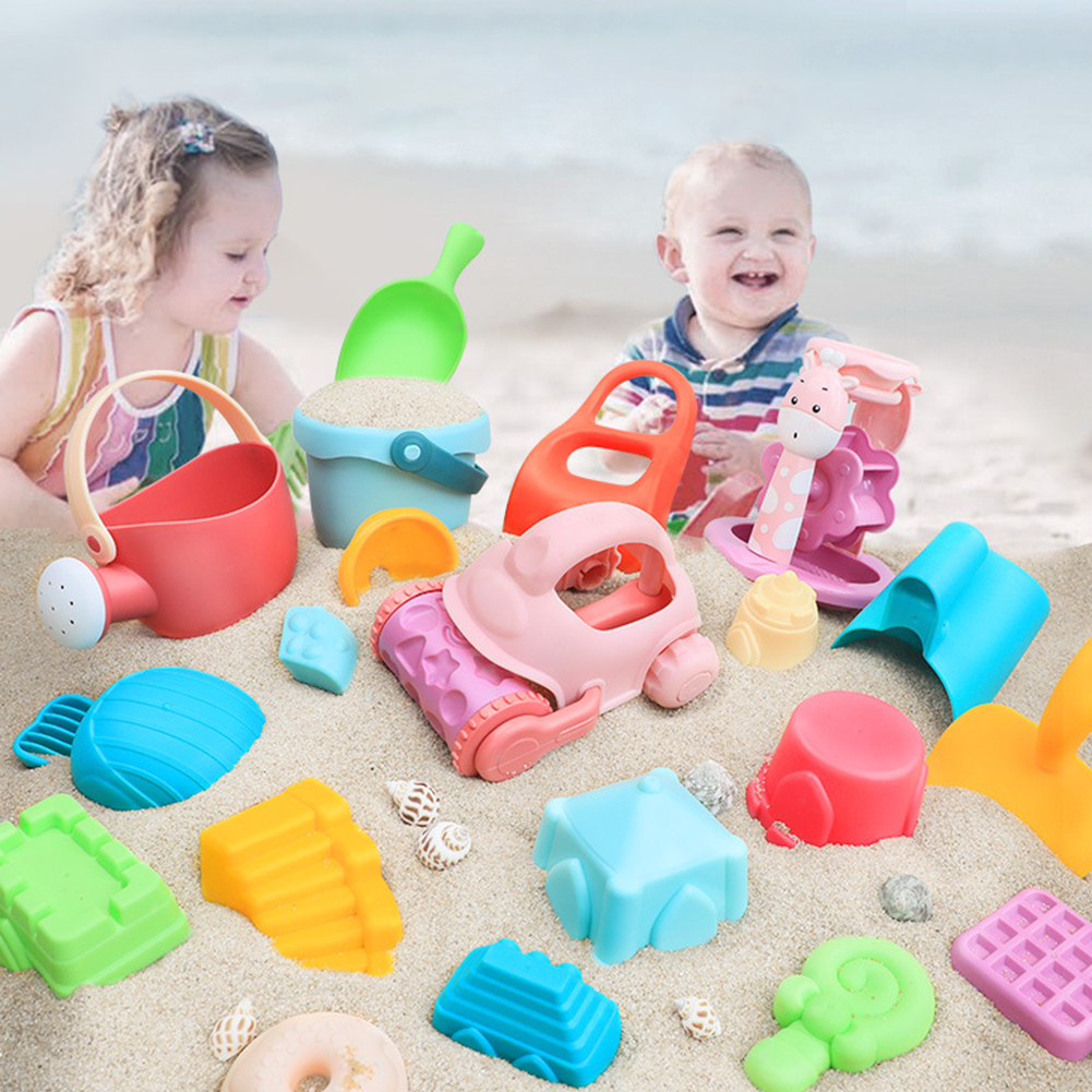 14pcs Digging Pit Bucket Colorful Soft PP Outdoor Activity Swimming Pool Seaside Beach Toy Set Summer Cartoon Winter Snow Shovel