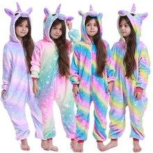 Кигуруми Детские пижамы с единорогом для детей; одеяло с рисунками животных; зимний костюм для малышей; Новинка года; комбинезон с единорогом для мальчиков и девочек