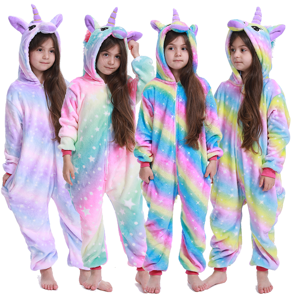 Kigurumi Kids Unicorn Pajamas For Children Animal Cartoon Blanket Sleepers Baby Costume Winter 2019 New Boy Girl Licorne Onesie