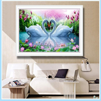 5D DIY Diamond Painting Swan Couples Crystal Drawing Needlework Gift Full Diamond Embroidery Cross stitch Home decoration M633 image