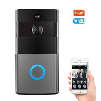 Tuya WiFi Vidéo Sonnette avec Interphone Audio motion Détecter Soutien Amazon Alexa Echo Show Google Home En Fonte Chromée Commande Vocale