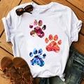 Модная женская футболка с принтом красных сердец собачьих лап, Летние повседневные топы, женские футболки с коротким рукавом, милая женская...