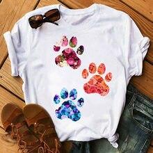 Moda feminina t camisa coração vermelho cachorro pata impressão t camisa verão casual topos feminino manga curta camisetas senhoras bonito camisetas