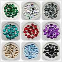 Caliente tamaño mixto 100 Uds Color rojo Superior Taiwán acrílico piedras con parte trasera plana mezclar la forma acrílico estrás par coser 2 agujeros gemas DIY