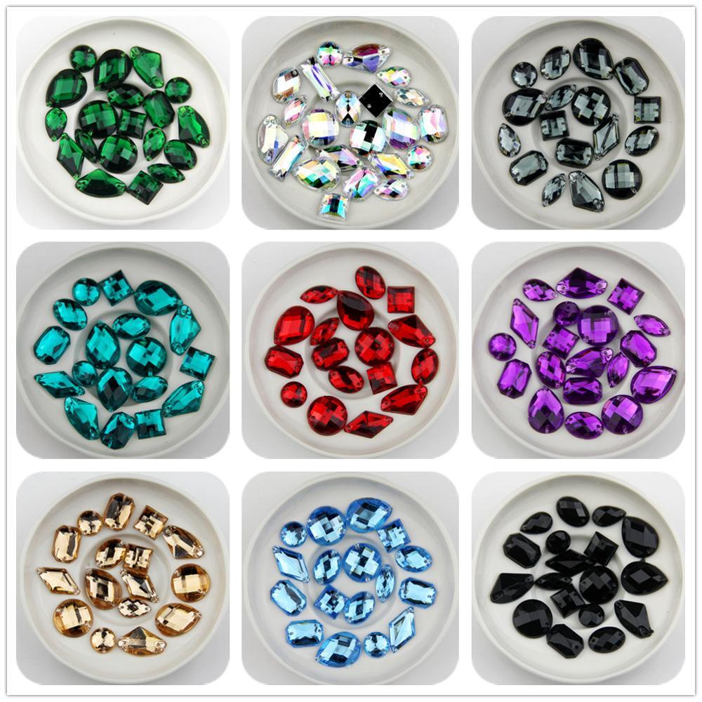 Triangle Shape Acrylic Stone sew on Button Flat Back 2 holes 10mm beads 50pcs