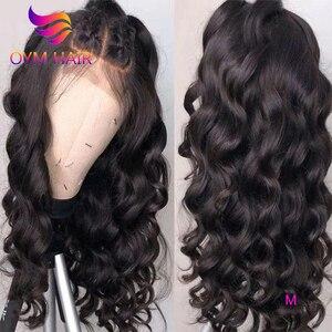 OYM luźna fala peruka 13x4 koronki przodu włosów ludzkich peruk dla kobiet wstępnie oskubane Remy wolna część włosów brazylijski 360 koronki przodu peruka 150%