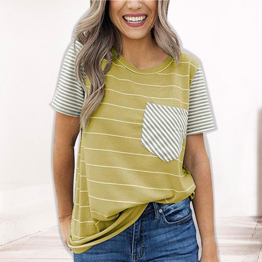 T Shirt Women Striped Pocket Tees 2020 New Summer O-Neck Tops Female Short Sleeves 2XL Tshirt Women Clothes Casual Top Tee