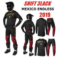 size 30 36 38 Mexico Endless Shift 3lack Motocross Jersey And Pant RED GOLD ATV BMX Moto Gear Set Motorcycle Clothing MX Combo