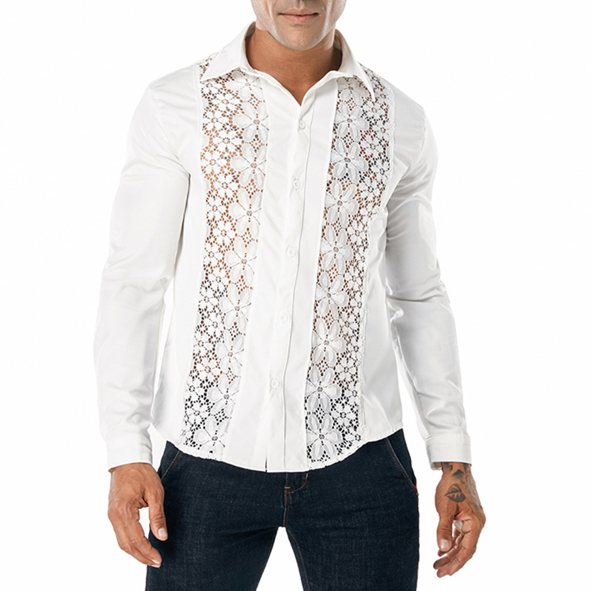 Men Black Lace Shirt Autumn Bilateral Lace Decoration Floral Embroidery Sexy Dress Shirts Male Party Wedding Social Shirt Clothe