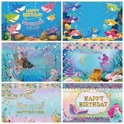 Mermaid Seabed Underwater Unicorn Shark Fish 1st Birthday Backdrop Vinyl Custom Photography Background Photophone Photocall Prop