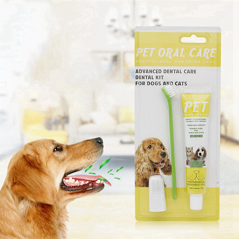 Pet Products Pet Toothpaste Set Pet Toothbrush Dog Oral Care Cats and Dogs Toothbrush Toothpaste Set Beef Taste image