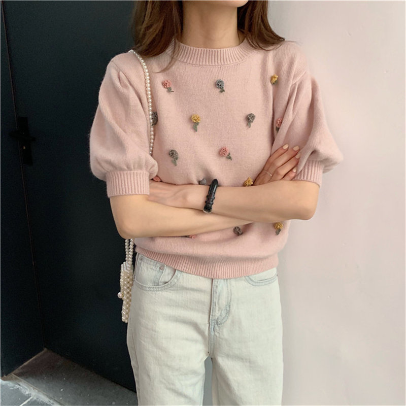 Alien Kitty 2019 Autumn Stylish Brief Flowers Pullovers Sweet Office Ladies Loose Puff-Sleeved All-Match Knitted Women Sweaters