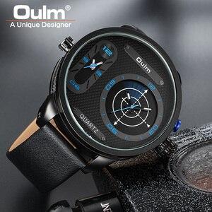 Image 3 - Oulm Модные Стильные мужские часы большого размера со светодиодом, роскошные Брендовые мужские кварцевые часы с двумя часовыми поясами, мужские кожаные Наручные часы
