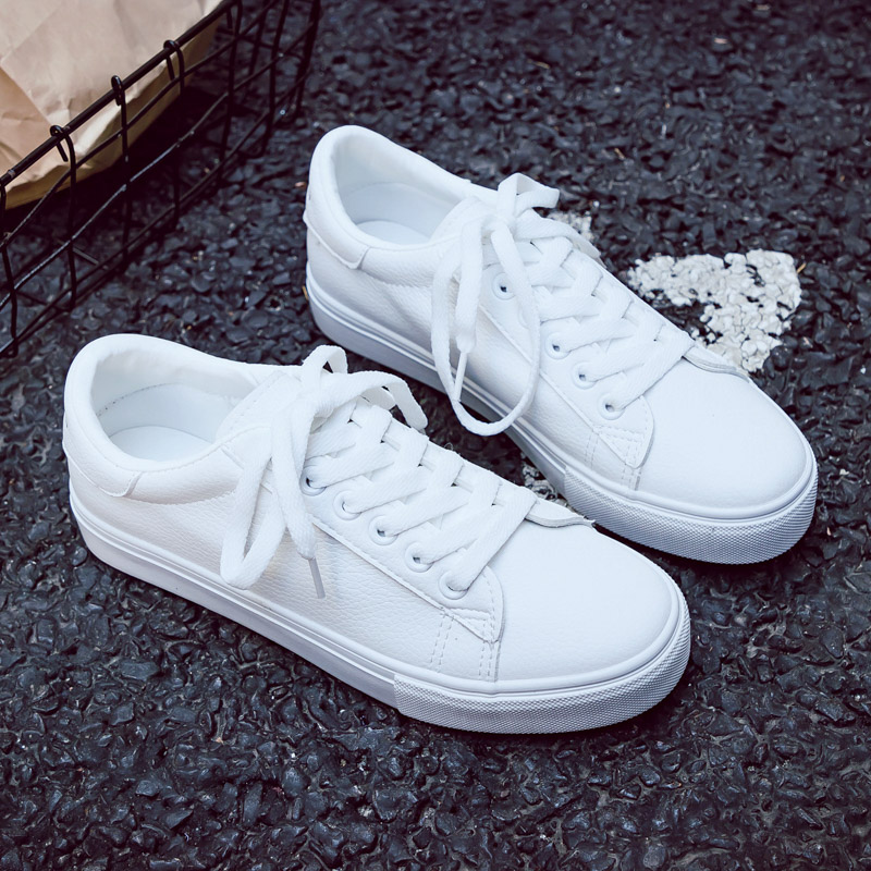 Woman Shoes New Fashion Woman Casual High Platform Leather Women Casual White Shoes Breathable Sneakers Women's Vulcanize Shoes