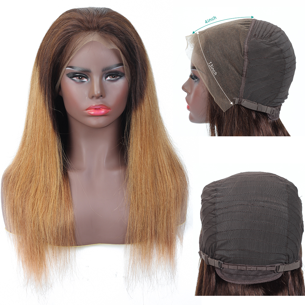 13x4 Deep Part Lace Front Human Hair Wigs Straight Ombre Lace Wig Brazilian NonRemy Human Hair Pre-Plucked With Baby Hair