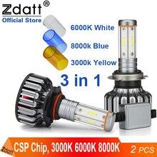 Zdatt H7 Led H1 led ampoule H4 LED lumière de voiture H11 lumière 100W 24V 12000Lm antibrouillard 3000K 6000K 8000K ampoules de glace