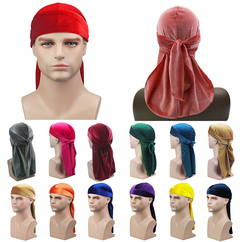 2019 New Unisex Breathable Velvet Turban Hat Durag Wigs Doo Headwrap Chemo Cap Long Tail Pirate Hat Men Women Hair Accessories
