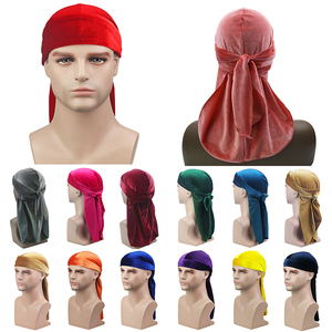 2020 New Unisex Breathable Velvet Turban Hat Durag Wigs Doo Headwrap Chemo Cap Long Tail Pirate Hat Men women Hair Accessories(China)