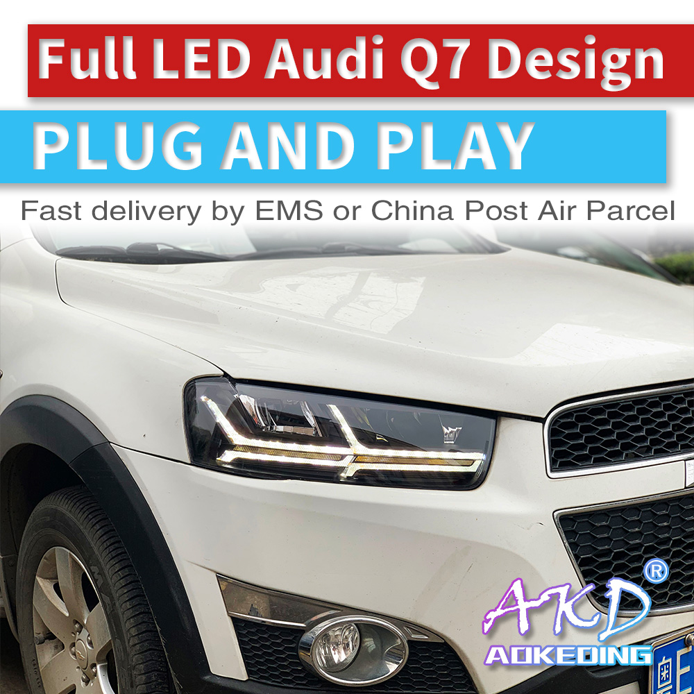 AKD tuning cars Headlight For Chevrolet Holden Captiva 2011 2018 Headlights Audi Q7 type LED DRL Running lights Bi Xenon Beam