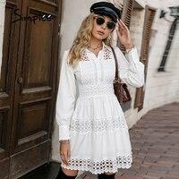 Simplee-vestido corto elegante de encaje con volantes para mujer, vestido blanco de oficina con botones, cintura alta