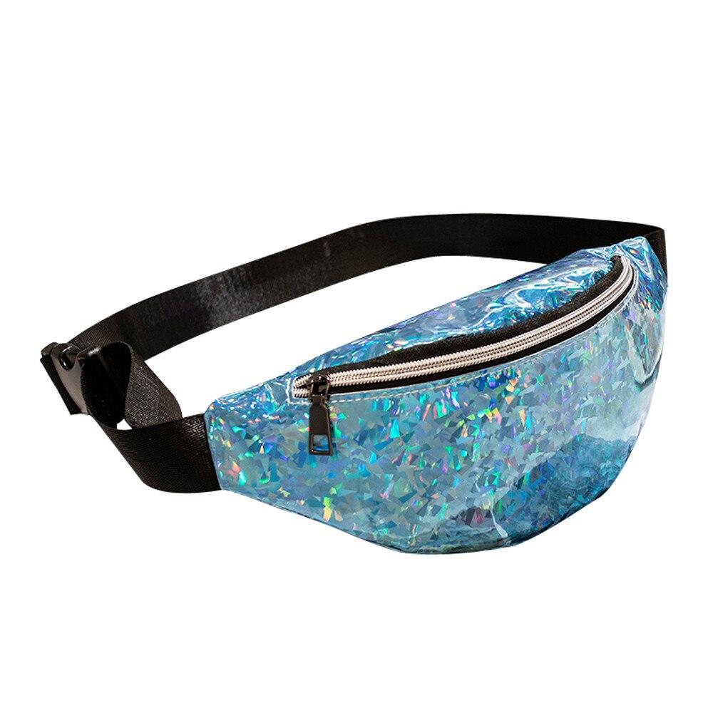 Laser Waterproof Waist Packs Crossbody Bags Women Fanny Pack Female Belt Bag Black Sport Waist Packs Chest Phone Pouch Wallet