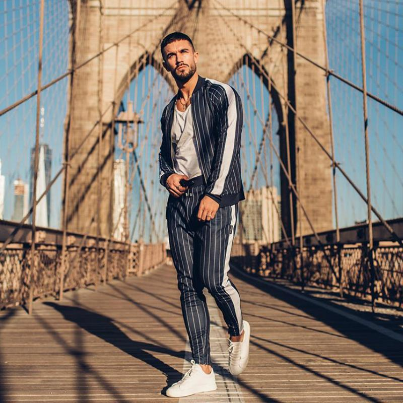 2019 Men's sportswear suit sweatshirt tracksuit muscle Fitness casual active Zipper outwear training clothes men sets