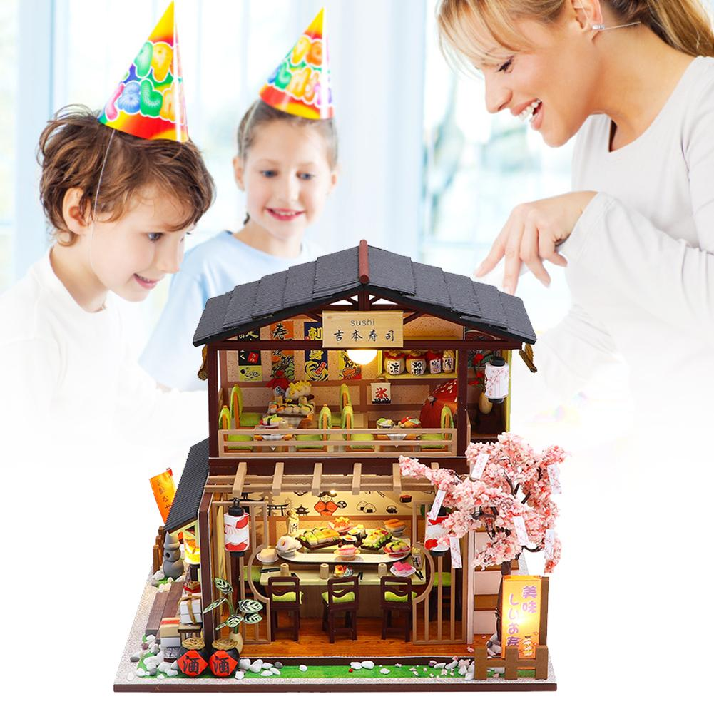 Japanese-style DIY Dollhouse Kit 3D Assembled Sushi Shop Handmade House Mini Cabin For Christmas Birthday Valentine's Day Gift