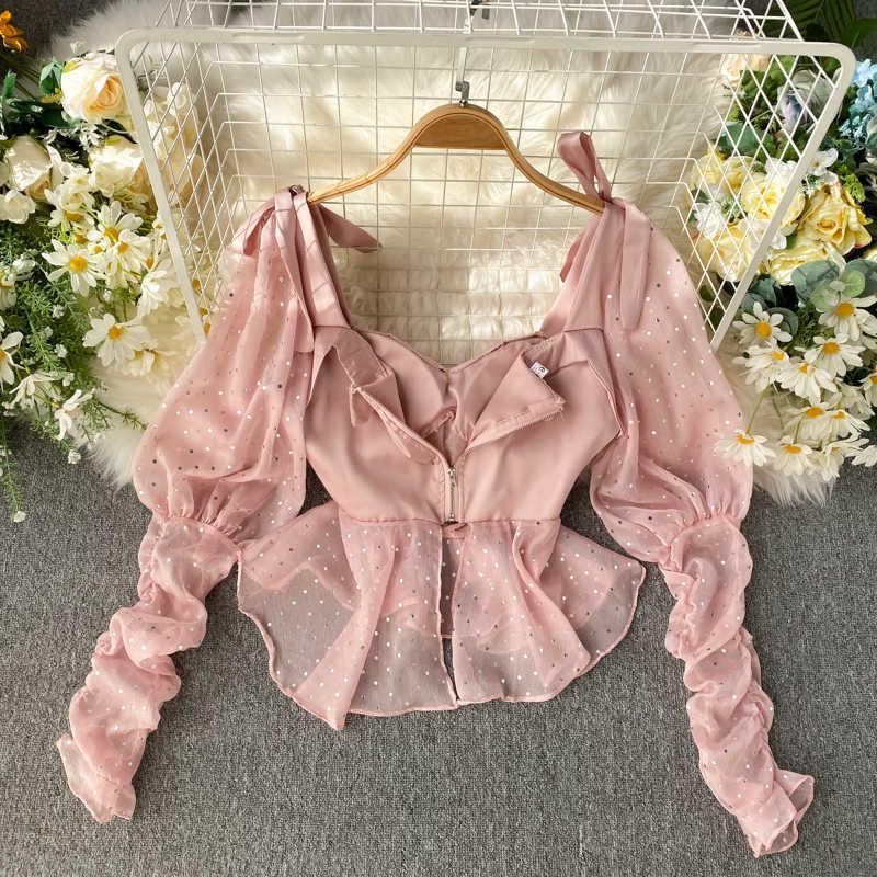 여성 블라우스 봄 여름 셔츠 여성 의류 2020 한국 빈티지 블라우스 여성 탑 Ropa Mujer Blusa Feminina ZT5345