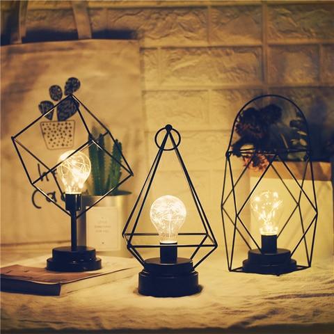 lampada de mesa retro nordica ferro preto luz noturna minimalista fio de cobre criativo 3d