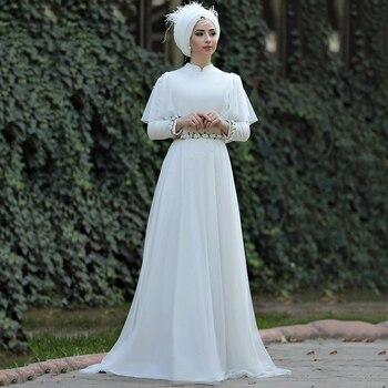 Eightree Muslim Wedding Dresses 2020 A-line Long Sleeves Arabic gelinlik Bride Gown Chiffon Floor-Length Dubai robe de mariee