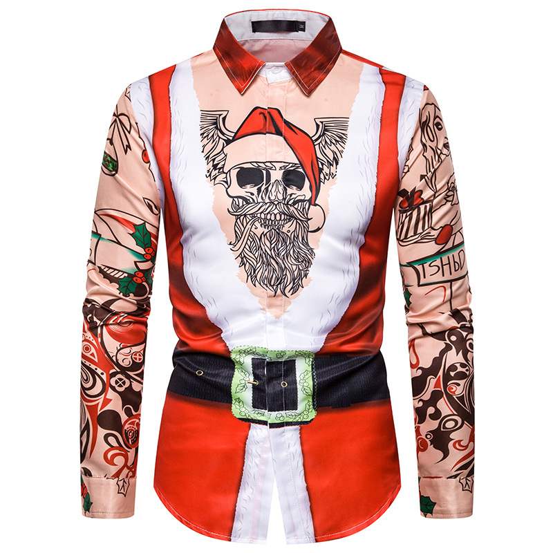 Fake Two Pieces 3D Christmas Shirt Men 2019 Funny Santa Claus Print Camisa Masculina Harajuku Xmas Casual Mens Dress Shirts 3XL