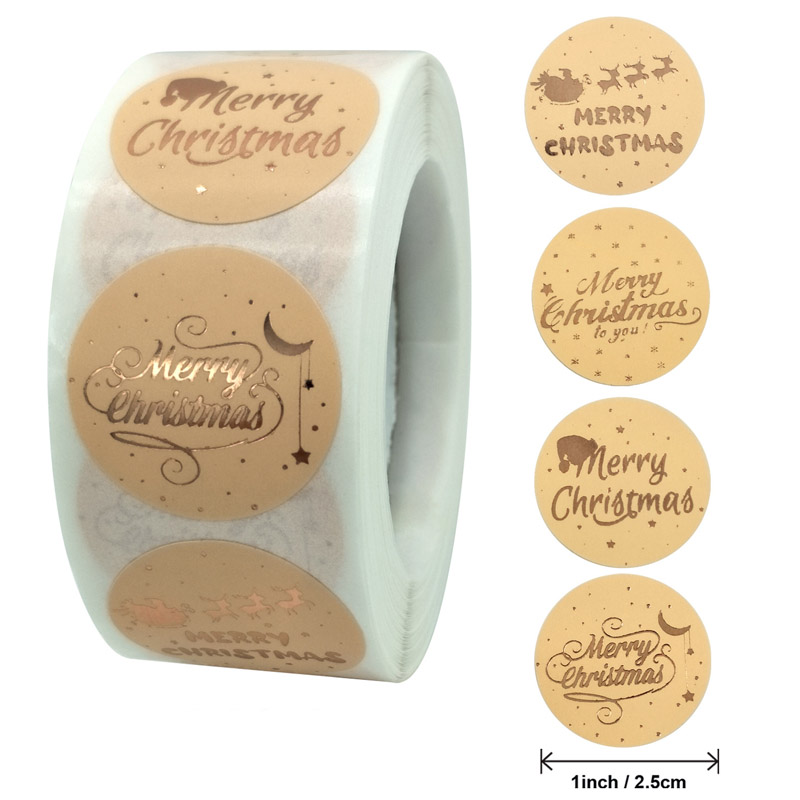 50-500pcs Merry Christmas Stickers Gold Stamping Christmas Label For Child Gift Decor Shop Product P