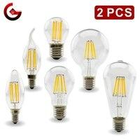 2 uds E27 E14 Retro Edison bombilla de filamento LED lámpara AC220V bombilla de luz C35 G45 A60 ST64 G80 G95 G125 bombilla de vidrio Vintage luz de la vela