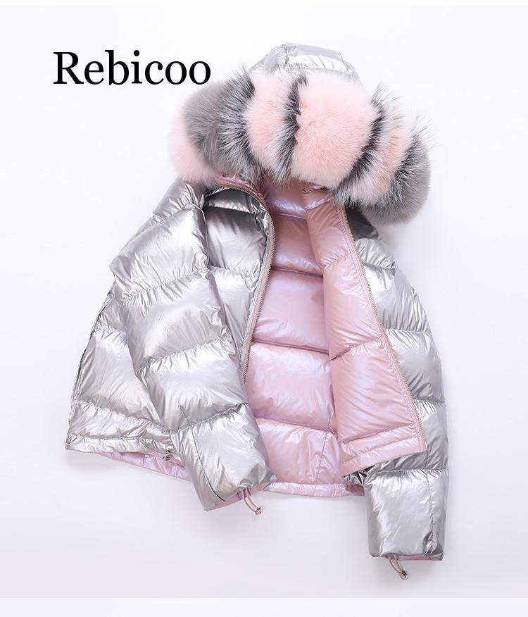 2019 New Bright Face Winter Down Jacket Female Short Double-sided Fashion Fake Fur Collar Coat Winter Down Coat Women Outerwear