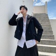 Мужская шерстяная короткая куртка мужская женская винтажная свободная повседневная черная уличная хип хоп готическое пальто Верхняя одежда весна осень
